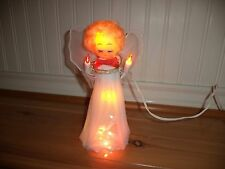 VINTAGE MULTI COLOR LIGHT ANGEL CHRISTMAS TREE TOPPER BLONDE HAIR NETTING WINGS