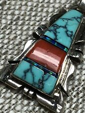 NAVAJO STERLING INLAY TURQUOISE CORAL OPAL PENDANT SIGNED CHARLIE BOWIE OLD PAWN