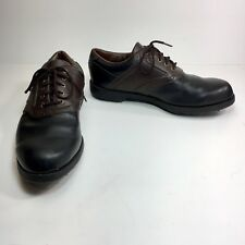 Footjoy Greenjoys Men 10 M Black Brown Saddle Leather Lace Up Golf Cleats Shoes