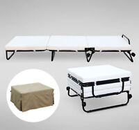 HOMCOM Twin Size Folding Convertible Sleeper Bed Ottoman Lounge With Beige Cover