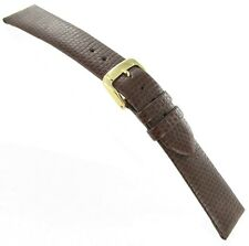 19mm Speidel Lizard Grain Genuine Leather Brown Unstitched Watch Band