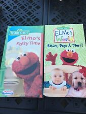 RARE SESAME STREET 2 VHS LOT ELMO'S POTTY TIME IN SHRINK Babies DOGS & MORE