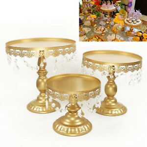3pcs Gold Crystal Round Cake Stand Display Dessert Holder Wedding Party Decor UK