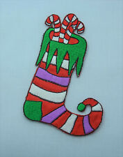 CHRISTMAS STOCKING XMAS 10CM Embroidered Iron Sew On Cloth Patch Badge  APPLIQUE