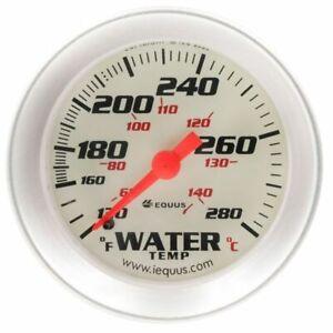 Equus 2 Inch Water Temperature Gauge Kit White / Aluminum Bezel 8242 100 - 280 F