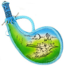 Color Mongolian Vintage Genuine Leather Wine Water Bag bota Handmade Brown RARE