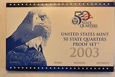 2003 5 Coin State Quarter Clad Gem Cameo Proof Set with Original Box & COA