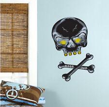 SKULL & CROSSBONES CHALKBOARD wall stickers 2 decals 3 pcs chalk skeleton decor