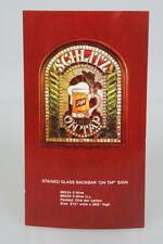 Original Schlitz Beer Stained Glass On Tap Sign Dealer Advertising Card Old