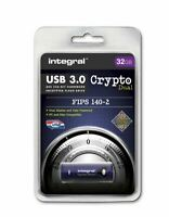 Integral 32GB CRYPTO DUAL Password Encrypted FIPS 140-2 USB 3.0 Flash Drive.