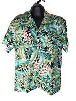 Hilo Hattie Mens 100% Polyester Hawaiian Shirt Green Floral Tropical - Size M