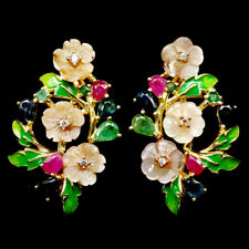 NATURAL PINK MOTHER OF PEARL, RUBY, SAPPHIRE, EMERALD & CZ 925 SILVER EARRINGS