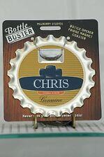 BOTTLE BUSTER CHRIS~COASTER~FRIDGE MAGNET~BOTTLE OPENER~NEW ON CARD!
