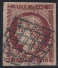 n°6B Cérès 1fr Carmin-brun oblitéré Grille TB 1849 - Signé Scheller