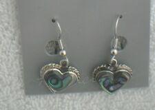 Earrings Heart small Abalone Shell Alpaca new rope border