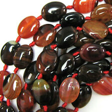 "16x20mm multicolor agate flat oval beads 16"" strand"