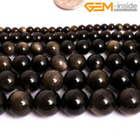 """Natural GoldBlack Obsidian Round Gemstone Loose Beads For Jewellery Making 15""""C"""