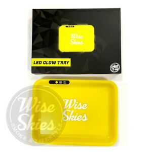 Wise Skies LED Rolling Tray Glow Tray Rolling Paper Holder Yellow Tray Light Up