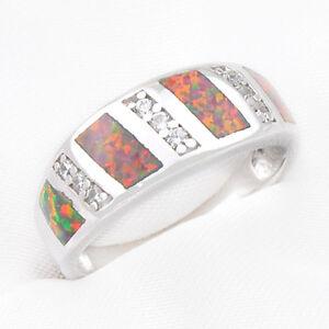 925 Sterling Silver 18K White Gold Rose Fire Opal Gemstone Wedding Ring Size 8