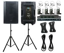"Dual 15"" 4500W PA Powered Speakers Heavy Duty Tripod Stands 4CH UHF Headset Mic"