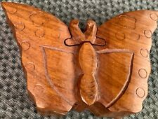 Wood Puzzle Box - Depicting BUTTERFLY - Hand Made in India - Trinket Box
