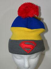 DC Comics Classic Pom-Pom Superman Superhero Winter Knit Cap Hat New 2016