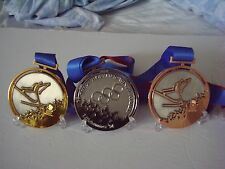1994 Lillehammer Norway Olympic Medals Set with Silk Ribbons & Display Stand !!!