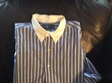 ralph lauren. classic fit blue and white striped shirt.
