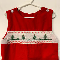 "VTG Red Christmas Smocked Romper Christmas Trees Handmade Child Size 26"" Chest"