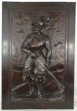 Antique French Solid Walnut Carved Wood Door/Panel  - Middle Ages Soldier