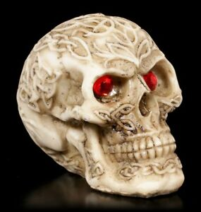 Celtic Skull With Red Eyes Small - Gothic Fantasy Skull Decor