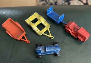 5 Metal Pieces 3 Tootsie Toy 1 Race Car 2 Trailers,  Tractor & Wagon Not Marked