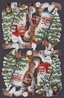 4 uralte geprägte Weihnachtsmänner Oblaten L&B 31040 - DIE CUT SCRAPS