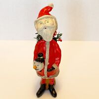 Santa figure creepy holding snowman head primitive folk horror nightmare art 10""