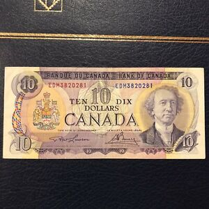 Canada 10 Dollar Bill Circulated $10 1971 Series Canadian Very Good Condition