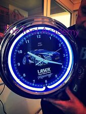 LASER TOOLS RACING BTCC NEON BLUE GLOW CLOCK ( CAN BE USED WITH NO LIGHT )