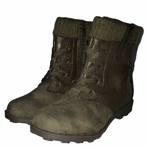 Carter's Toddler Girls Brown Zip Up Boots 11M W/ Faux Laces - Sweater Cuff