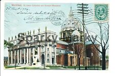 Montreal St James Cathedral and Bourget Monument Vintage Postcard A01