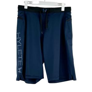 HYLETE Cross-Training Drawstring Zip Pocket Navy Blue Shorts Men's Large Long