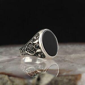 Handmade pure 925 SILVER man ring Onyx stone jewellery wedding Gift Box RRP £50