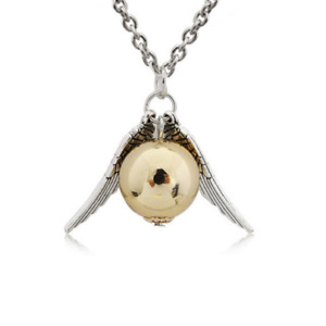 NEW Harry Potter Golden Snitch Necklace Silver Wings Girls Jewellery Xmas Charm