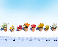 Miniature Flower Pots Colorful mix HO O scale model railway dollhouse diorama 0n