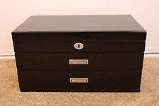 Luxury & Quality 3 Layers High Gloss Wooden Jewellery Box –JB3008BK - Pure Black