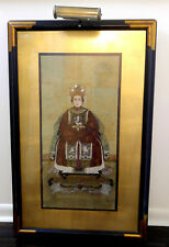 Chinese Empress Large Picture Gouache Painting Portret Framed w/Light