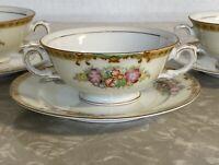 Vintage Diamond Hand Painted Japan Double Handle Soup Bowls Bread Plate Set Of 3