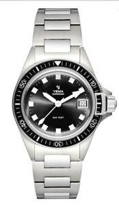 YEMA Superman Heritage Black Quartz Date Bracelet Watch YMHF1574-AM (BRAND NEW)