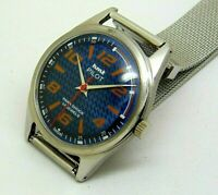 genuine hmt pilot hand winding men steel blue dial parashock vintage india watch