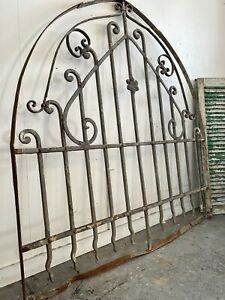 19th Century Antique Wrought Iron Arched Garden gate / Fan Light / Screen