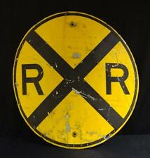 Large Vintage Metal Painted Round Railroad Crossing Sign Nice!