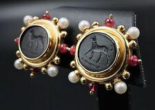 Elizabeth Locke 18k Yellow Gold Pearl Tourmaline Onyx Intaglio Earrings EG628